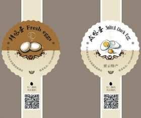 Egg and duck egg packaging label sticker vector