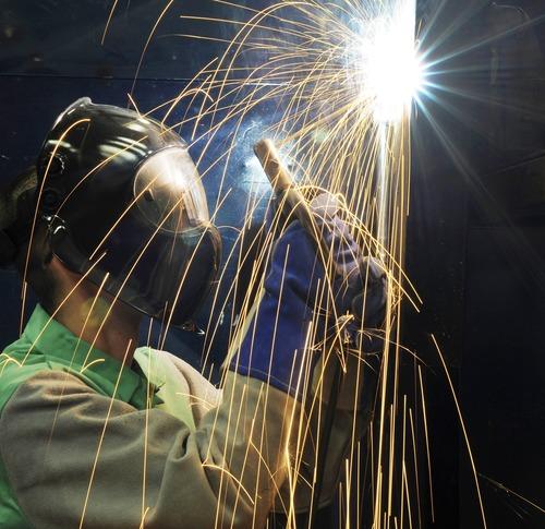 Electric welder working Stock Photo 01