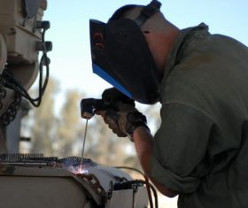 Electric welder working Stock Photo 02