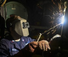 Electric welder working Stock Photo 03