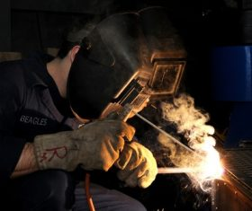 Electric welder working Stock Photo 05