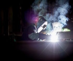 Electric welder working Stock Photo 06