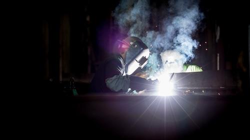 Electric welder working Stock Photo 06