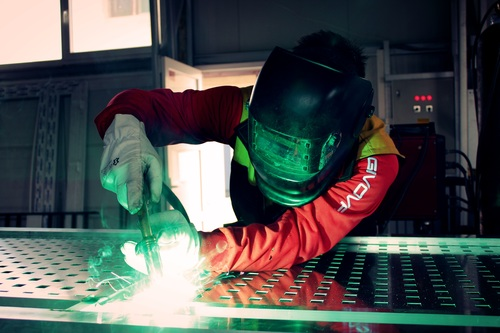 Electric welder working Stock Photo 07