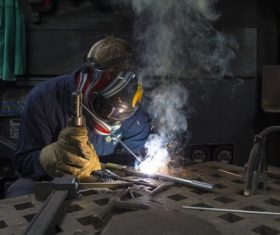 Electric welder working Stock Photo 08