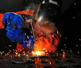 Electric welder working Stock Photo 12