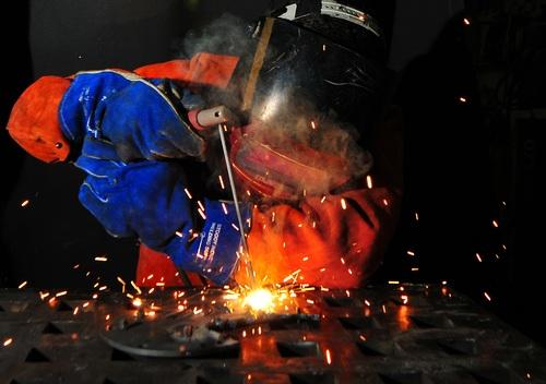 Electric welder working Stock Photo 12