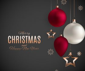 Elegant christmas baubles with new year background vector