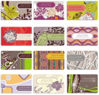 Elegant flower pattern business card background 02 vector