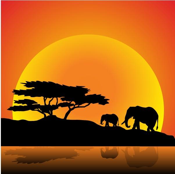 Elephants Family on Nature Walk vector