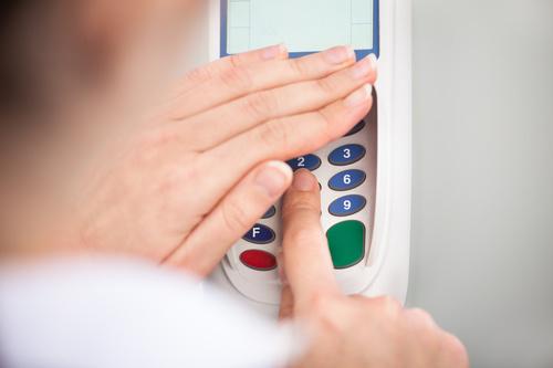 Enter the password on the POS machine Stock Photo 01