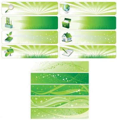 Environmental theme banner design vectors