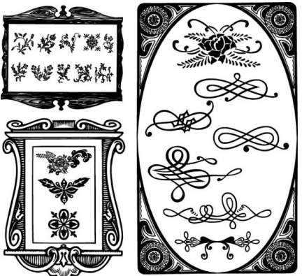 European border ornaments vector set