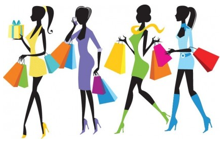 Fashion Shopping Girls Illustration vector