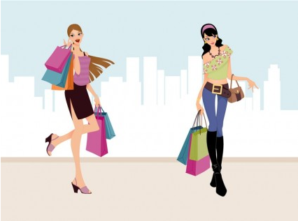 Fashion Shopping Girls Art vectors