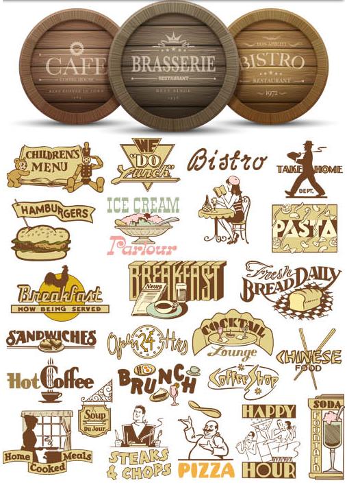 Fastfood Labels Set vector