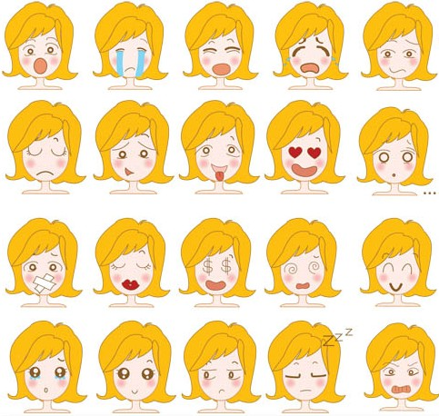 Female Emotions free vectors