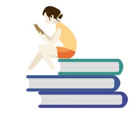 Female student reading book vector