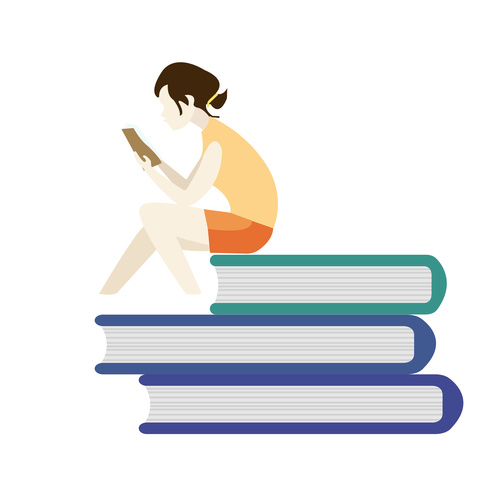 female student reading book vector free download female student reading book vector free