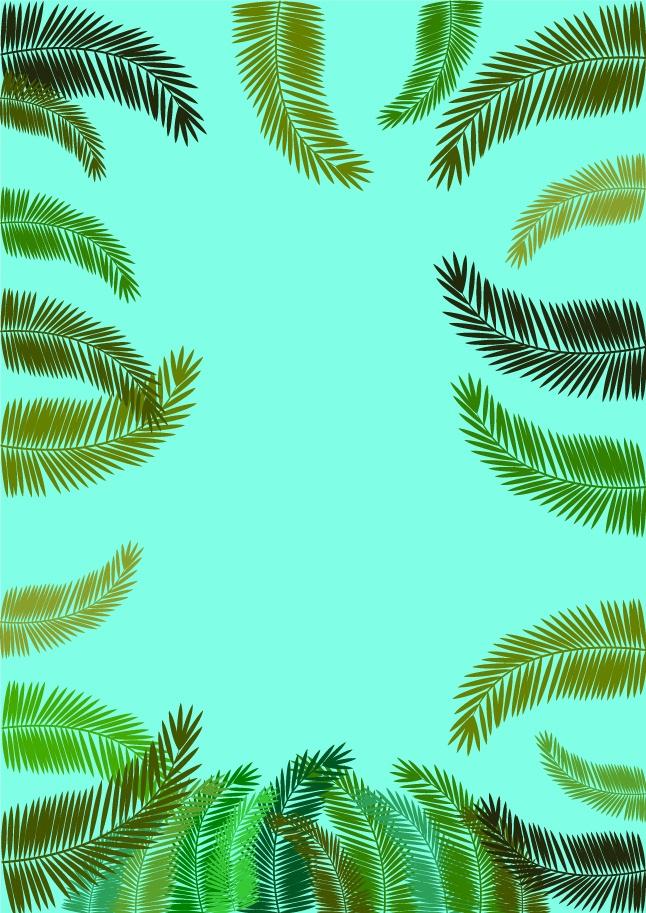 Fern leaf frames vector