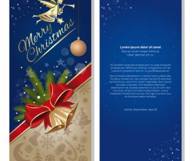 Festive blue banner with angel and jingle bells vector