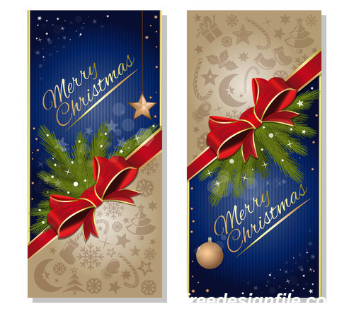 Festive blue christmas banners with red ribbon and bow vector