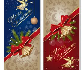 Festive red and blue banners with angel vector 01