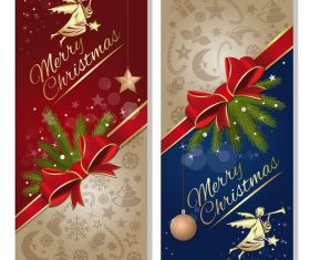 Festive red and blue banners with angel vector 02