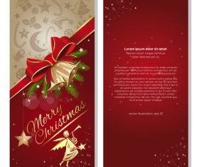 Festive red background with angel and jingle bells vector 01