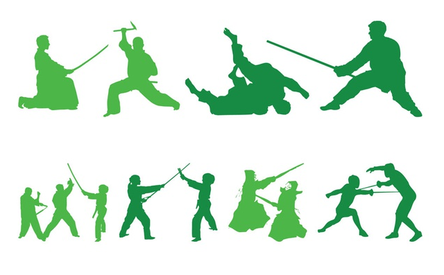 Fighting People Silhouettes art vectors