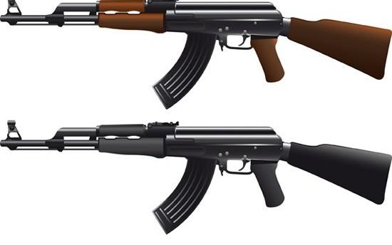 Figure AK 47 machine gun vector