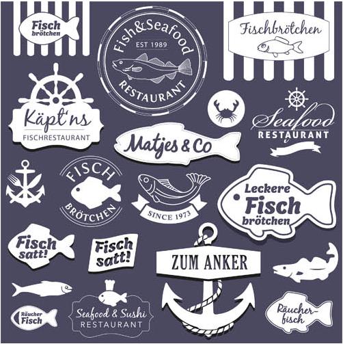 Fish Labels creative vector