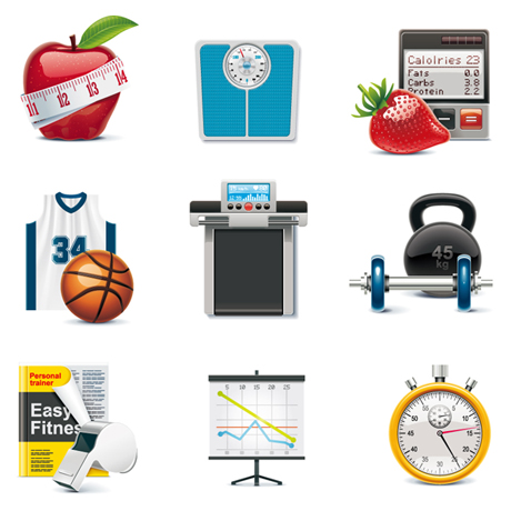 Fitness Objects icons vector
