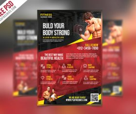 Fitness and Gym Flyer with Poster PSD Template