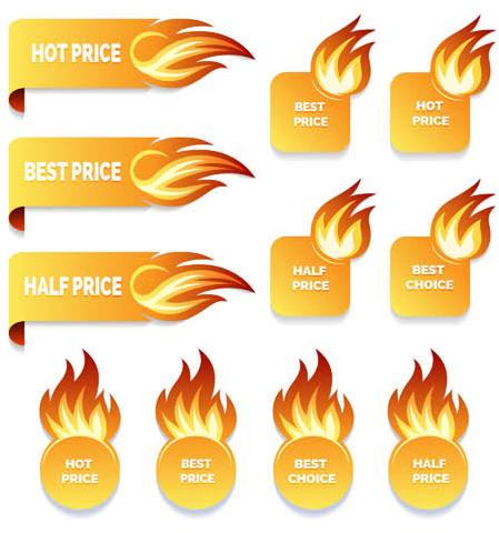 Flame Sale Elements design vector