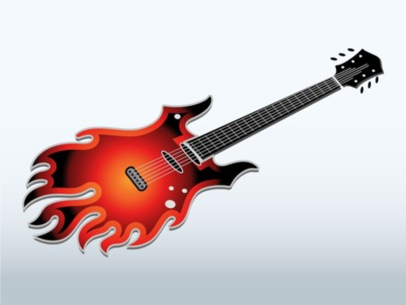 Flaming Electric Guitar vector
