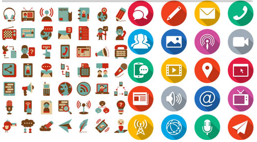 Flat Colorful Icons Mix vector