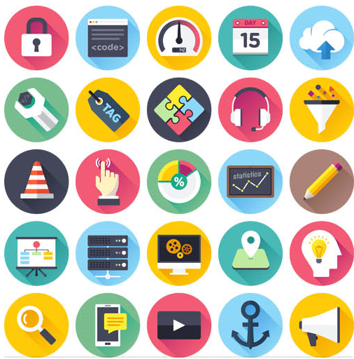 Flat Web Shiny Icons art set vector