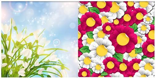 Floral Backgrounds art set vector
