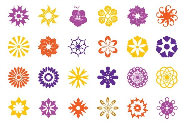 Floral Blossoms Icons art vector