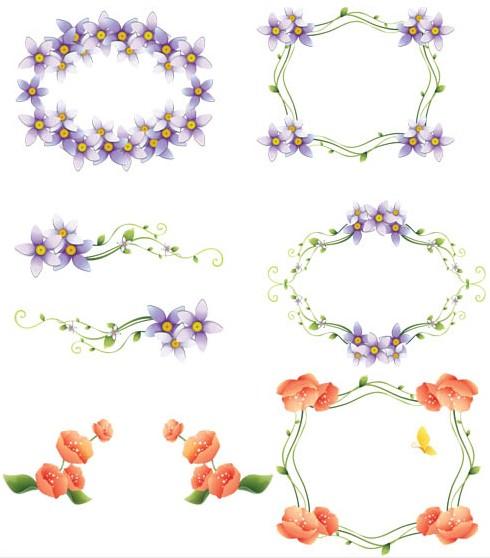 Floral Color Frames vector
