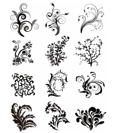 Floral Curves Set design vector