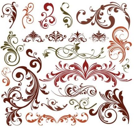 Floral Design Elements Set vectors