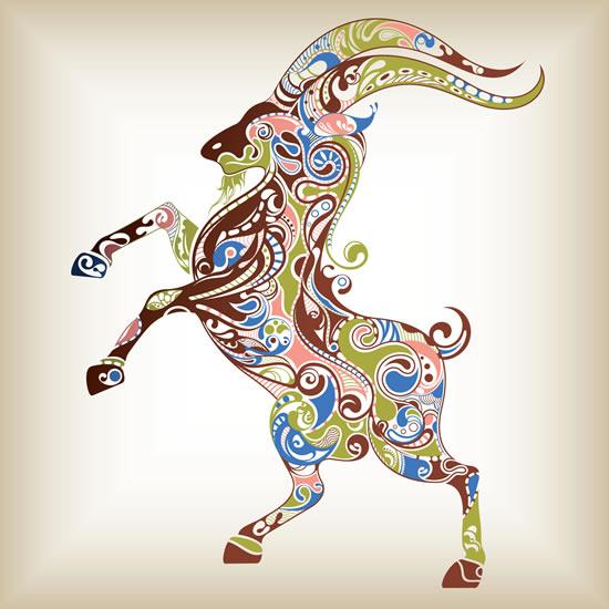 Floral Goat vectors