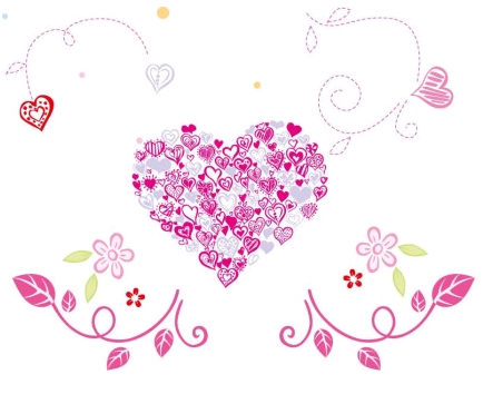 Floral Love Heart Vector Graphic Illustration