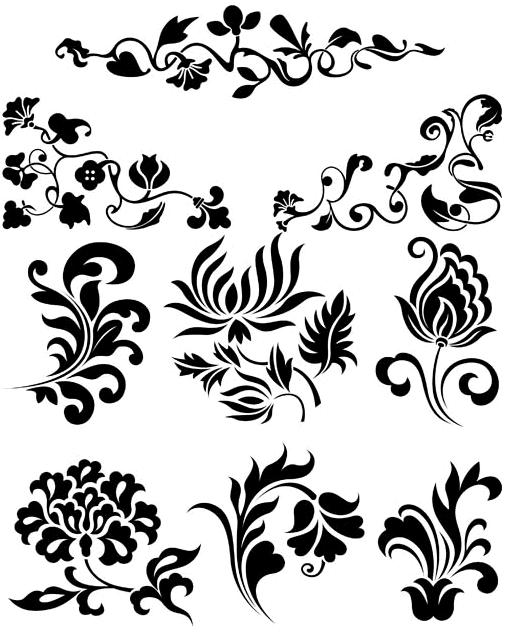 Floral Ornament Elements Mix 11 vector