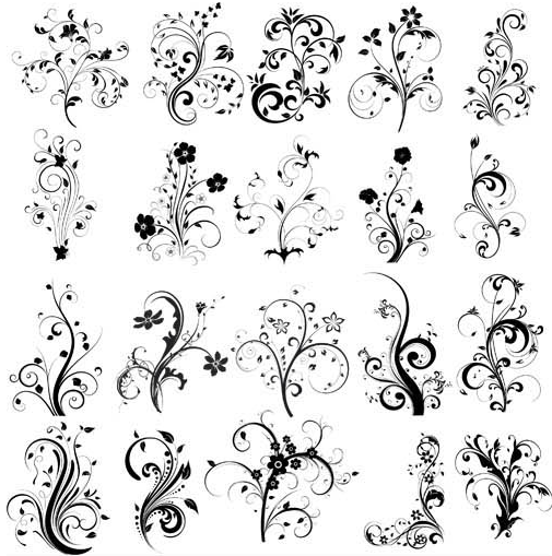 Floral Ornament Elements Mix 12 vectors graphics