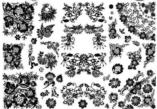 Floral Ornament Elements Mix 14 vector