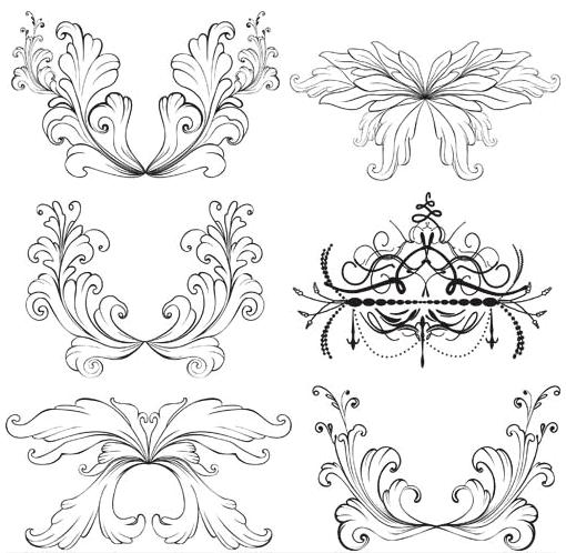 Floral Ornament Elements Mix 15 vectors