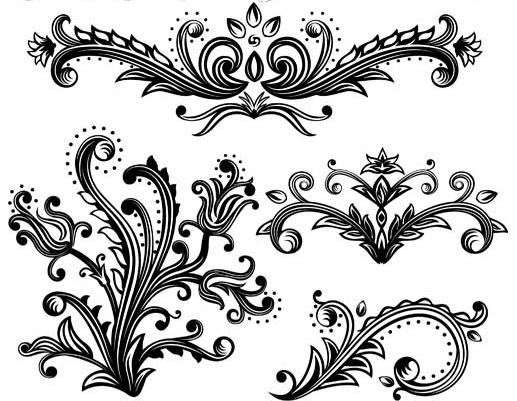 Floral Ornament Elements Mix 16 vector